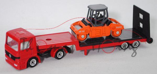 00000 Mercedes-Benz Actros M (Mod. 96-02) Tieflader mit Straßenwalze HAMM HD 90, rot+grau/orange