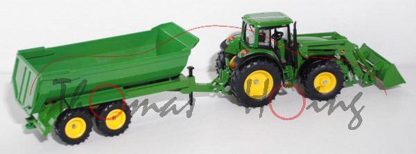 John Deere 6820 Traktor mit Frontlader und Wechselladersystem und Muldenkipper, smaragdgrün, o.K., L