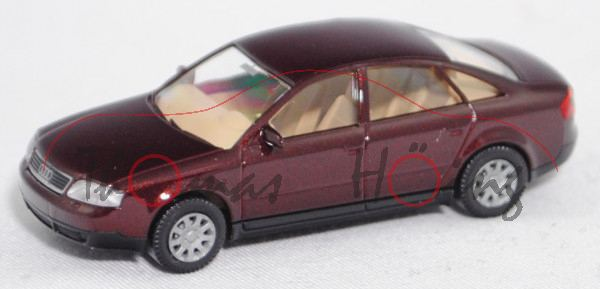 Audi A6 (2. Gen. Audi A6, Baureihe C5, Typ 4B, Mod. 97-04), andorrarot perleffekt, Wiking, 1:87, mb