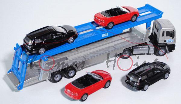 03900 MAN TGA PKW Transporter mit 2 Stück Audi A4 Cabrio (1339) in verkehrsrot und 2 Stück VW Passat