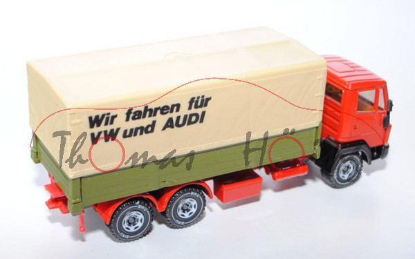 Mercedes LN-2 LKW mit Pritsche, verkehrsrot/hell-olivgrün, Wir fahren für / VW und Audi, LKW10
