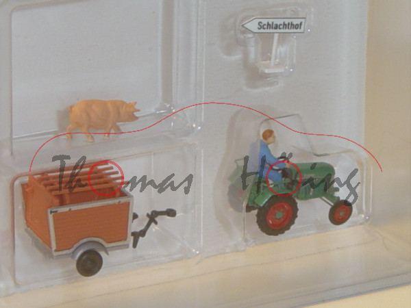 Traktor Kramer KL 11 mit Anhänger und Bauer, grün und braun/silber, BUSCH, 1:87, mb