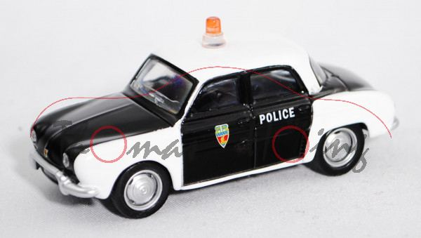 Renault Dauphine (Modell 1956-1968, Baujahr 1956) Police, schwarz, Dach und Kotflügel weiß, POLICE